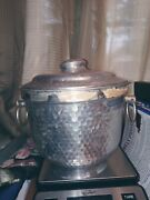 Vintage Silver Color Hammered Ice Bucket With 2 Handles And Lid. Made In Italy