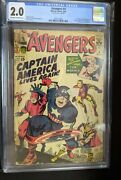 Avengers 4 Cgc 2.0 1st Silver Age Captain America Marvel Low Grade Key Issue