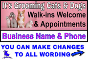 Pet Grooming Cats And Dogs - Vinyl Banner - Lightning Fast Shipping