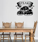 Vinyl Wall Decal Logo For Grilling Barbecue Steak House Cafe Sticker N1490
