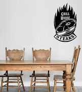Vinyl Wall Decal Sticker Logo For Grilling Barbecue Beef Steak House N1494