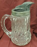 Antique Eapg Blown Metal Pewter Or Silver Plate Spout Water Pitcher Pressed