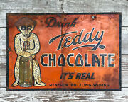 Antique Teddy Chocolate Soda Sign Tin 1920s Advertising Bear Gas And Oil Bottle