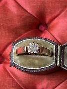 Antique Victorian Old Cut Diamond Solitaire Rose Gold Ring