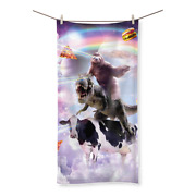 Laser Eyes Space Sloth On Dinosaur Cow - Rainbow Sublimation All Over Towel