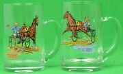 Pair Of Paul Brown Harness Glass Mugs Racing A Storm And The Winner