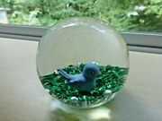 Gibson Blue Bird Sulphide 1991 Paperweight Stamped Signature