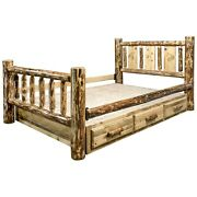 Unique Western Log Storage Bed With Drawers King Size Laser Carvings Bear Deer