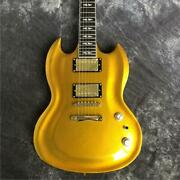 Naughty Boy Sg Electric Guitar Shiny Gold With Gold Hardware 2 Pickups Hot Sale