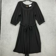 Donna Ricco Dress 18w Womens Plus Size Solid Black 3/4 Sleeve Belted Shift Knit