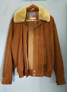 Pitkin Country Dry Goods 100 Leather Suede Jacket Sz L Removable Sherpa Collar