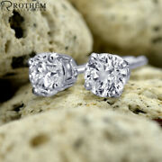 0.98 Ct Solitaire Diamond Earrings White Gold Stud Si1 Msrp 6650 03251905