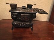 Vintage Mini Crescent Cast Iron Toy Stove For Parts As Is