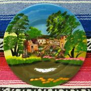 Traditional Mexican Scenic Village Redware Clay Plates Wall Art 12 1/2 Inch