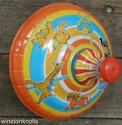 Vintage Tin Litho Spinning Top Ohio Art Merry Go Round 9inches Across