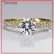 1.34 Ct Round Cut Diamond Engagement Ring D I2 Pave 14k Yellow Gold 41252128