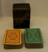 Double Miniature Victorian Patience Playing Cards In Leather Case C.1880s 2 Deck