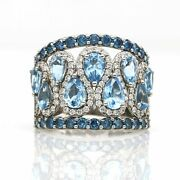 Designer Signed Blue Topaz And Diamond Wide Band Ring In 14k White Gold