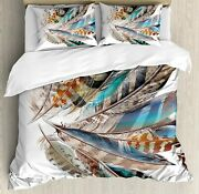 Ambesonne Feathers Duvet Cover Set Vaned Types And Natal Contour Flight Bird Fe