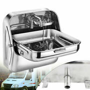 304 Stainless Steel Caravan Boat Rv Folding Sink With Cold Water Faucet New Usa