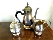Sheffield Coffee Pot Lidded Bowl And Milk Jug Silver Plated On Copper - Unused