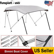 4 Bow Bimini Top Boat Cover 54 High X 8and039l X 61-66 W Gray 600d Oxford Fabric