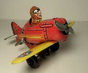 Vintage Marx Red Roll Over Plane 12 Tin Wind-up Stunt Airplane Good Condition
