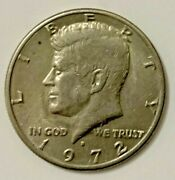 Nice Vintage 1972 D Kennedy Half Dollar - Look At Date 7 And 2 - Error Coin
