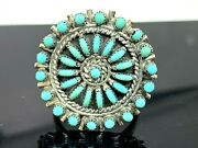 Native American Turquoise Sterling Silver Ring Vintage Flower Signed Womens Sz 6