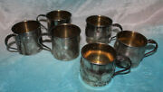 6 Old Vintage Oneida Community Silver Plate Christening Baby Cup Floral Handle