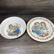 Vintage 1969 Oneida Deluxe Raggedy Ann And Andy Melamine Childs Bowl And Plate