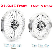 21 2.15 Front 16 3.5 Rear Chrome Fat Spoke Wheels For Harley Touring Softail