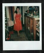 Vintage Polaroid Photograph Sexy Young Woman In Pretty Red Dress
