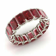 3.40 Ct Natural Ruby Gemstone Eternity Band 14k Solid White Gold Size 5 6 7 8 9