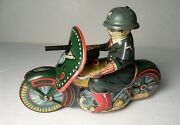 Vintage Police Military Saito P.d Motorcycle Tin Japan Friction Toy