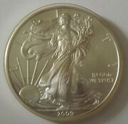 2009 American Silver Eagle Dollar - Nice Bu Condition In Kointain Capsule 108