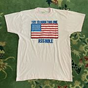 Vtg Try And Burn This One T Shirt 80s Xl Screen Stars Pink American Flag