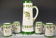 Limoges France Hand Painted Holly Berry Tankard And Mugs Set