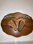 Set Vintage Rr 2-3/4 Miniature Toy Cap Gun And Leather Holster On Wood Plaque