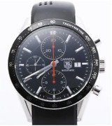 Tag Heuer Carrera Cv2014-2 Chronograph Watch Automatic Black Dial Rubber Mens