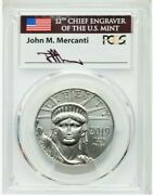Mercanti Signed 2019 100 Platinum Eagle Pcgs Ms70 First Day Of Issue 1 Oz