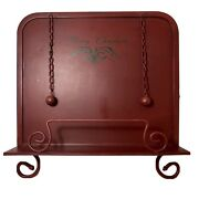 Metal Cookbook Recipe Stand Christmas Antique Paint Finish Red Sturdy Farmhouse