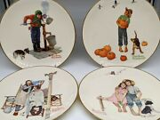 4 Norman Rockwell Four Seasons For 1963 Dinner Plates By Gorham