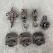 Pulley Farm Block Tackle Patina Rust Barn Find Lot Of 7 Vintage Square Star