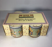 Debbie Mumm Spring Bouquet Set Of 4 Mugs New In Box Floral Stoneware