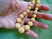 Chinese Carved Bead Necklace Antique Barrel Screw Clasp Off White