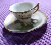 Vintage Six Flags Fiesta Texas Small Saucer And Cup Civil War Memorabilia Gold