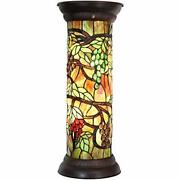 L10769 Grape Vine Style Stained Glass Pedestal Floor Lamp For Decorating
