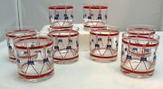 Vintage Collectible 70's Red White Blue Bicentennial Drum On The Rocks Glasses 8