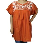 Burnt Orange Peasant Mexican Blouse Top Boho Hand Embroidered